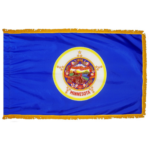 Minnesota flag with pole sleeve and fringe