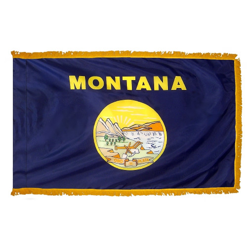 Montana - State Flag with Fringe - For Indoor Use