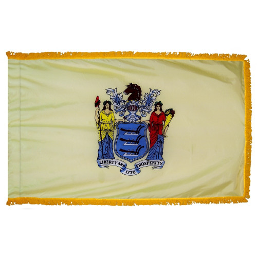 New Jersey flag with pole sleeve and fringe