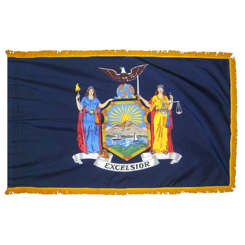 New York flag with pole sleeve and fringe