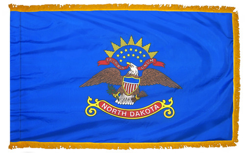 North Dakota flag with pole sleeve and fringe
