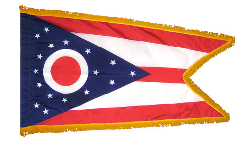 Ohio flag with pole sleeve and fringe