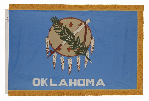 Oklahoma - State Flag with Fringe - For Indoor Use