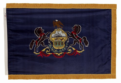 Pennsylvania flag with pole sleeve and fringe