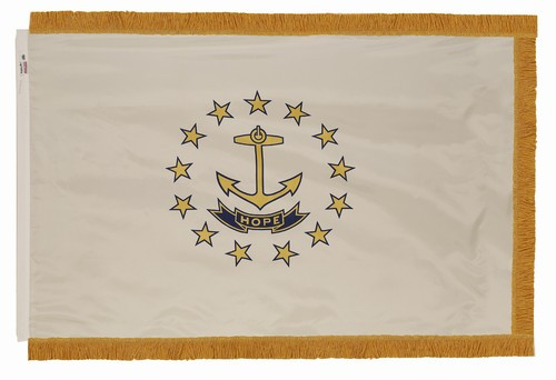 Rhode Island flag with pole sleeve and fringe