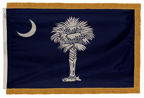 South Carolina flag with pole sleeve and fringe