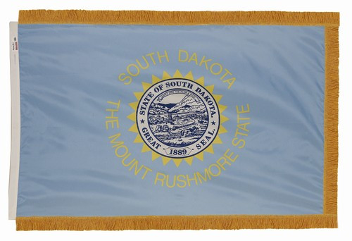 South Dakota flag with pole sleeve and fringe
