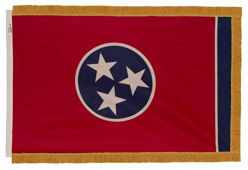 Tennessee flag with pole sleeve and fringe