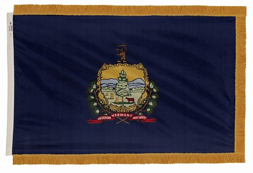 Vermont flag with pole sleeve and fringe