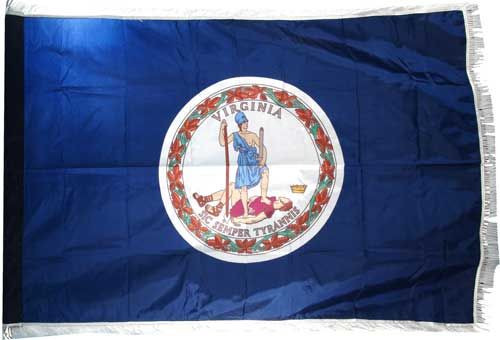 Virginia flag with pole sleeve and fringe