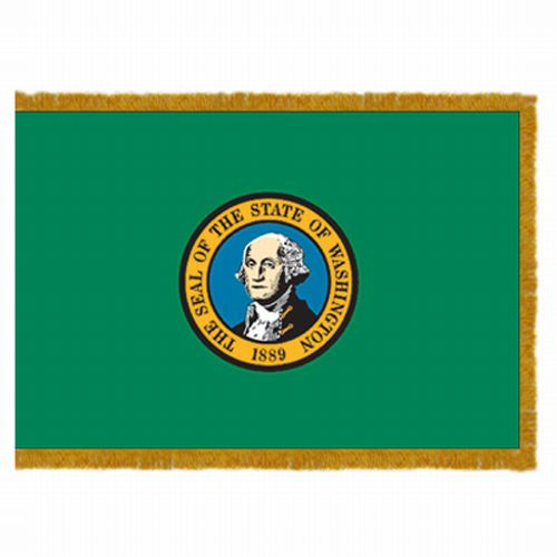 Washington flag with pole sleeve and fringe