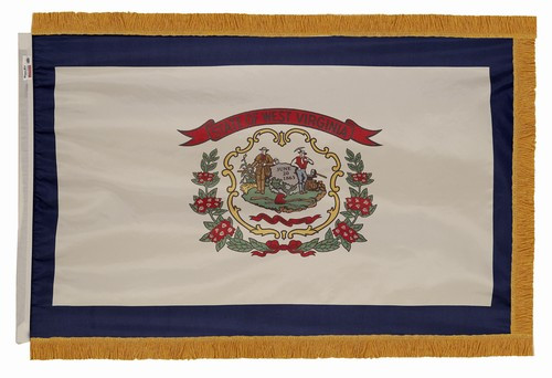 West Virginia flag with pole sleeve and fringe