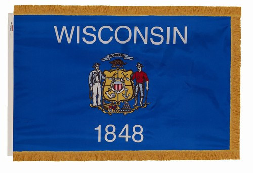 Wisconsin flag with pole sleeve and fringe