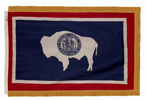 Wyoming flag with pole sleeve and fringe