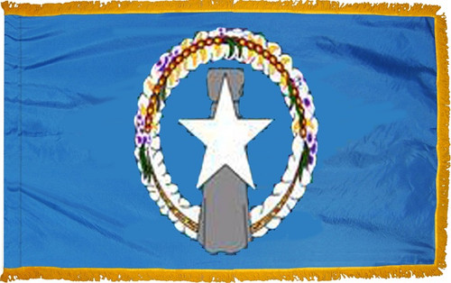 Northern Marianas flag with pole sleeve and fringe