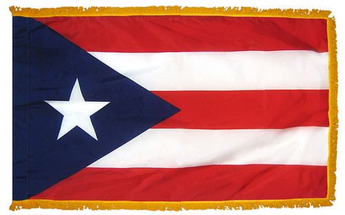 Puerto Rico - Territory Flag with Fringe - For Indoor Use