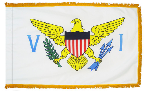 U.S. Virgin Islands flag with pole sleeve and fringe
