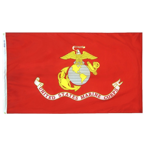 Marine Corps Flag with Heading and Grommets