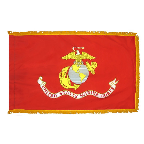 Marine Corps Flag with Fringe (Pole Sleeve Style)