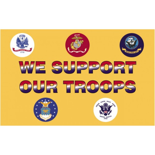 We Support our Troops Flag (Heading and Grommet Style)
