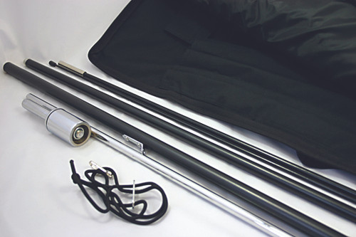 Required Hardware includes: pole, rotational steel ground stake and carrying case.