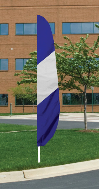 """Flutter Flag - White with Blue Stripe - 26""""x12' - For Outdoor Use"""