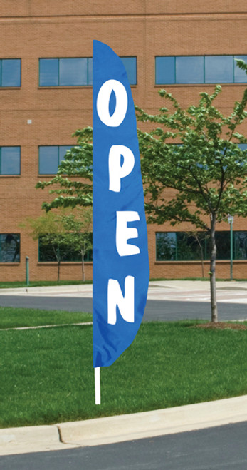 """Open"" - Blue Background Message Flutter Flag - 12' x 26"""