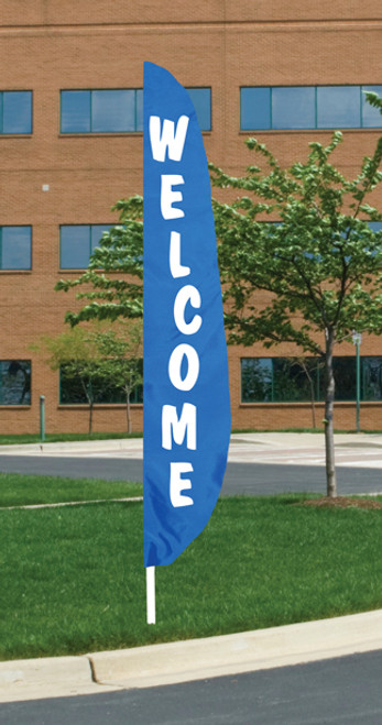 """Welcome"" - Blue Background Message Flutter Flag - 12' x 26"""
