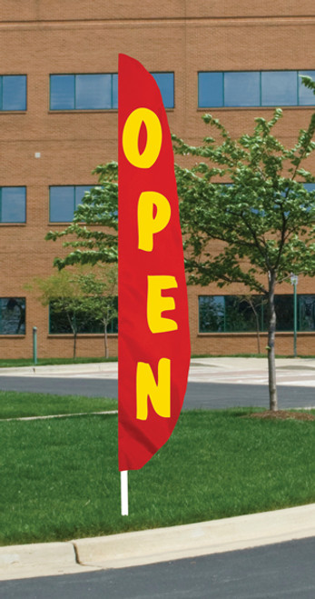 """Open"" - Red Background Message Flutter Flag - 12' x 26"""