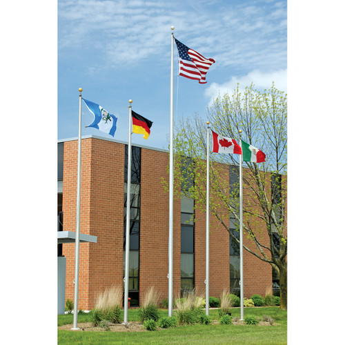 Five Architectural Aluminum Flagpoles with External Halyard