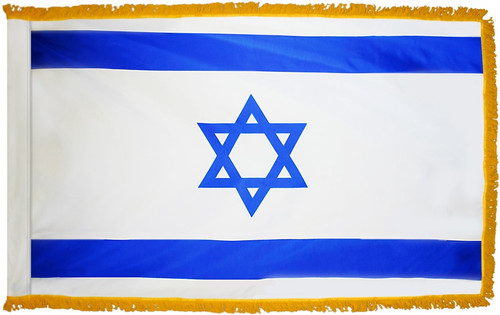 Israel Flag with Fringe - For Indoor Use