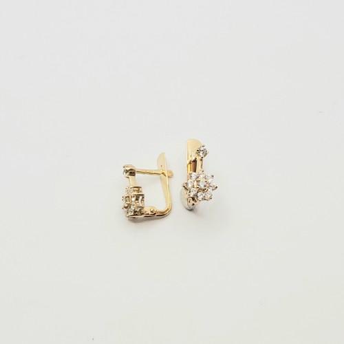 19.2k Portuguese Gold flower CZ earrings