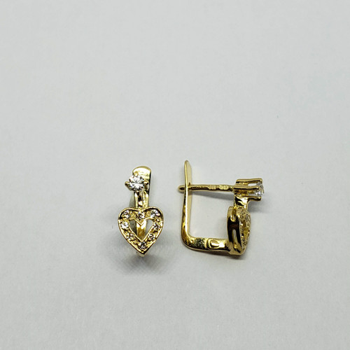 19.2k yellow gold heart CZ earrings