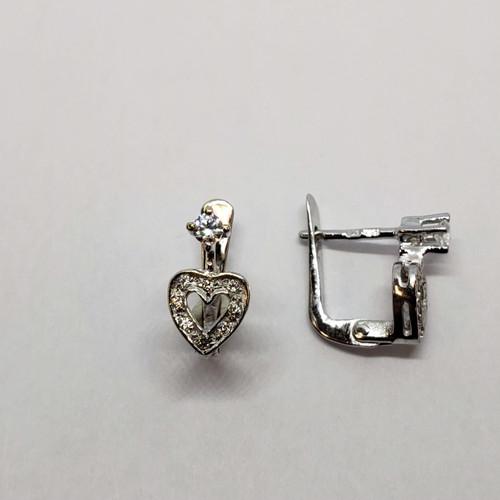 19.2k white gold CZ heart earrings