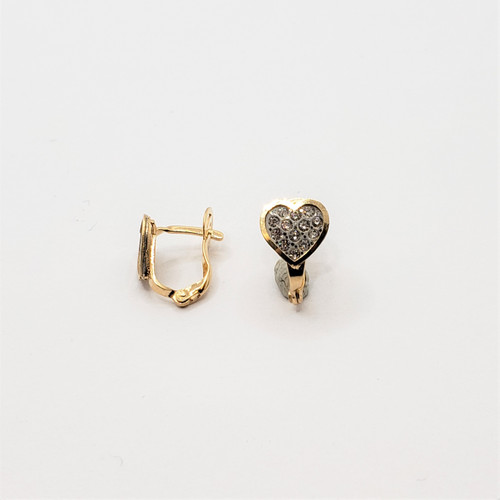 19.2k yellow gold heart thinner  CZ earrings