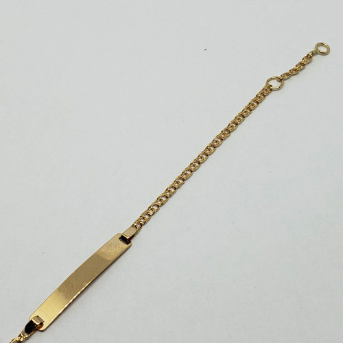 19.2k Portuguese gold Friso with Id plate doubled loop end bracelet