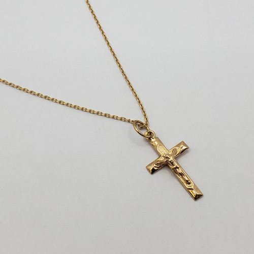 19.2k Portuguese Gold Cable Chain and Cross