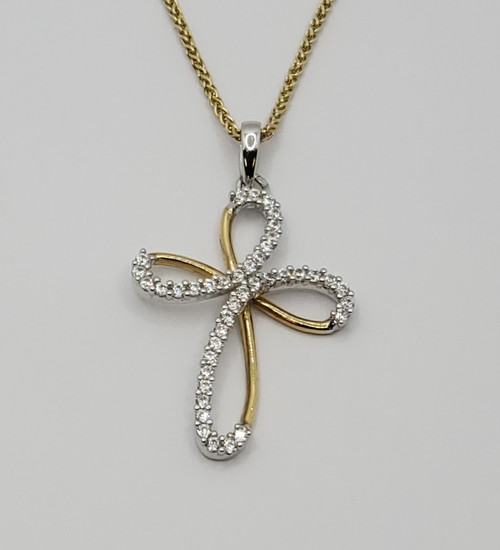 18k gold cross with CZ and chain