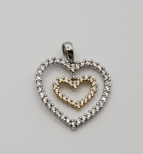18k two tone gold double heart with cz stones
