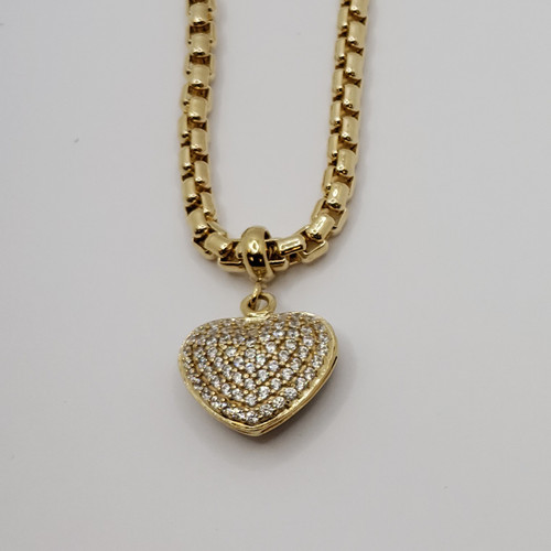 18k yellow gold charm necklace with white double sided cz heart 18.8gr