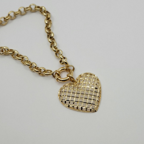 18k yellow gold rolo necklace with heart 11.3gr