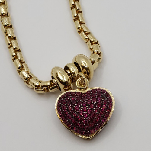 18k yellow gold charm bracelet with red double sided cz heart 11.4gr