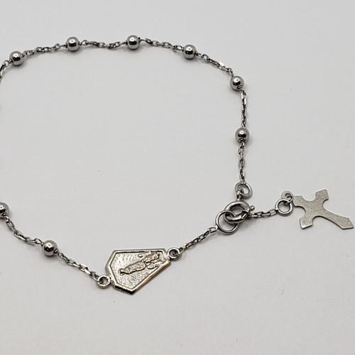 19.2k Portuguese white Gold Rosary Bracelet