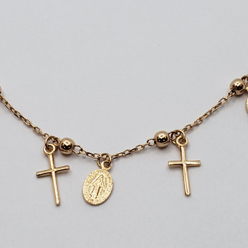 19.2k Portuguese Gold Miraculous and cross necklace