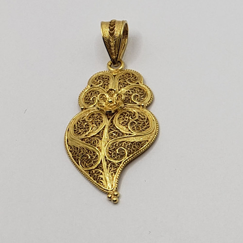 19.2k Portuguese Gold Filigree Heart Pendant 4.1gr