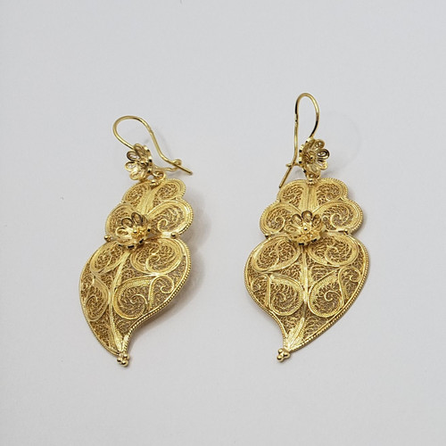 19.2k Portuguese Gold Filigree Earrings Pendant