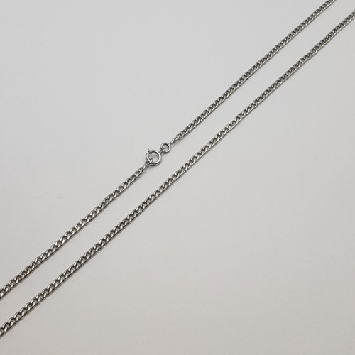 19.2k Portuguese White Gold Flat Curb Chain 20.1g