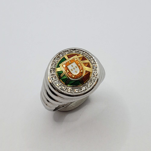 19.2k Portuguese White Gold Portugal Escudo Ring