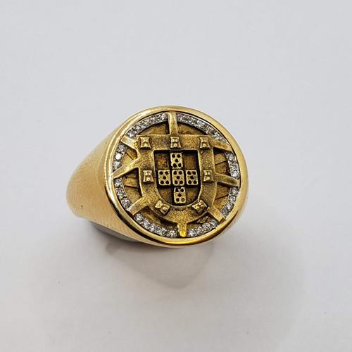 19.2k Portuguese  Gold Portugal Escudo with Diamonds Ring