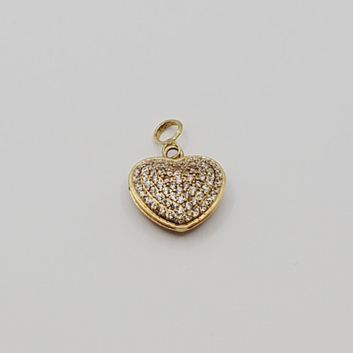 18k gold double side CZ Heart